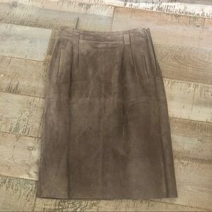 Lord & Tylor vintage brown pig suede midi skirt 10